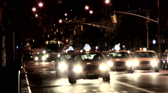 Taxi Cabs Night Fifth Avenue - stock footage