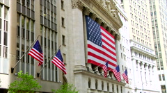 NYSE Stock Exchange American Flags - stock footage