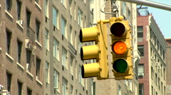 Traffic Light changes Green Yellow Red Manhattan Stock Footage