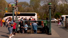 Time lapse New York City upper west side commuters Stock Footage