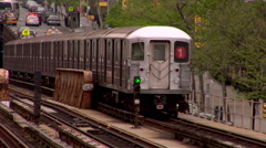 IRT Broadway 1 Train Seventh Avenue Local On Elevated Train Tracks Manhattan  Stock Footage