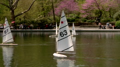 Model sailboats on the Conservatory Water, Central Park, New York. - stock footage