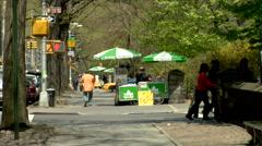 Central Park Entrance, 5th. Avenue Hot dog vendors Stock Footage