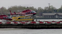 Helicopter Landing Pad Pier East River Stock Footage