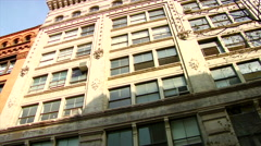 Slow Pan Lofts Historic cast iron buildings in New York City's Soho District - stock footage