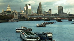 Boats on the Thames and The City of London Stock Footage
