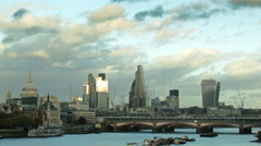 Reflective Thames and The City of London Stock Footage
