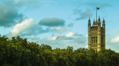 Westminster and a flag, London - stock footage