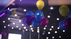 Color balloons at the night club Stock Footage