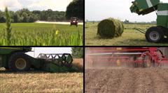 Field spray. Grass bales. Harvesting. Fertilize soil. Collage Stock Footage