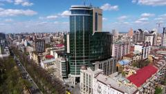Aerial view of Kiev, Shevchenko blvd, Hilton hotel, Ukraine Stock Footage