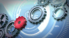 Cogs and wheels turning against interface Stock Footage