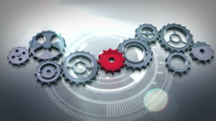 Cogs and wheels turning against interface - stock footage