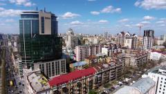 Aerial view of Kiev, Shevchenko blvd, Hilton hotel, Ukraine Stock Footage