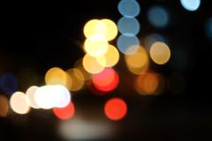 Bokeh of the color night light, blurred background. Colorful Background with - stock photo