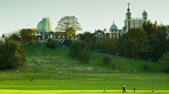 Panoramic view of Greenwich Observatory and Park Stock Footage