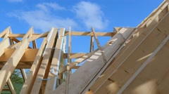 Roofing construction.Wooden construction Stock Footage