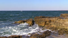 Waves of the Black Sea breaking on the rocks. - stock footage