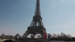 Eiffel Tower boat tour Seine river - tracking shot Stock Footage