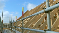 Stock Video Footage of Roofing construction.Wooden construction