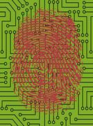 Vector Fingerprint pressed onto a Digital Circuit Board Stock Illustration
