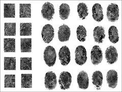 30 Detailed Fingerprints - stock illustration