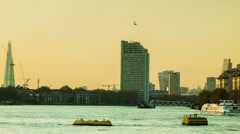 London Sunset, Shard, view of the Thames from Greenwich, boat passing Stock Footage