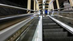 Side view from the moving escalator, upper perspective Stock Footage
