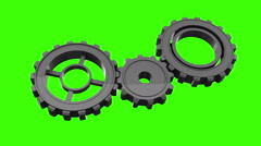 Cogs and wheels turning on green screen Stock Footage