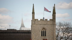 English flag on the church (union jack) Stock Footage