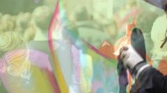 Urban Street art people and urban wall graffiti Stock Footage