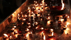 Burning candles in the Indian temple. Stock Footage