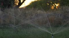 Agricultural Sprinklers, Water Usage Stock Footage