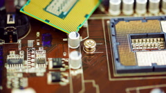 Modern processor and motherboard Stock Footage