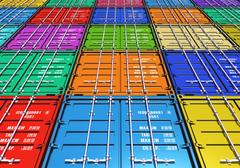Color cargo containers - stock illustration