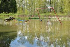 Playground Spring Flooding Stock Photos
