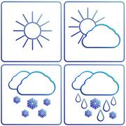 Vector abstract winter day weather flat image set - stock illustration
