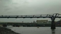 Millenium Bridge in cloudy weather, after sunset, Blackfriars Bridge Stock Footage