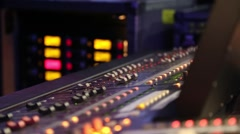 Close up and lights of audio mixer Stock Footage
