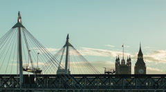 Hungerford Bridge at sunset, Big Ben Stock Footage
