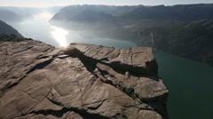 Preikestolen massive cliff top (Norway) - stock footage