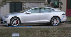 Modern eco car charging, Amsterdam Stock Footage