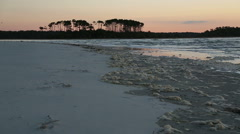 Sea foam is washing up on the shore at Cherry Grove Beach, SC Stock Footage