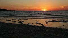 Cherry Grove, SC sea foam beach sunrise Stock Footage