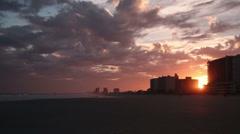 Sun setting at Cherry Grove Beach, SC Stock Footage