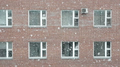 View from the window on a heavy snowfall Stock Footage