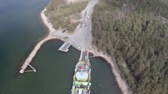 2,7K aerial shot, Cars are leaving the ferry, Parainen Finland Stock Footage