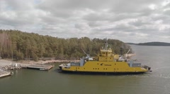 2,7K aerial shot, The car ferry docking. Parainen Finland Stock Footage