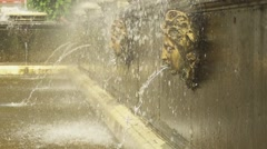 Human heads fountain in park Peterhof slow motion Stock Footage