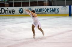 Girl figure skater in singles skating. - stock photo